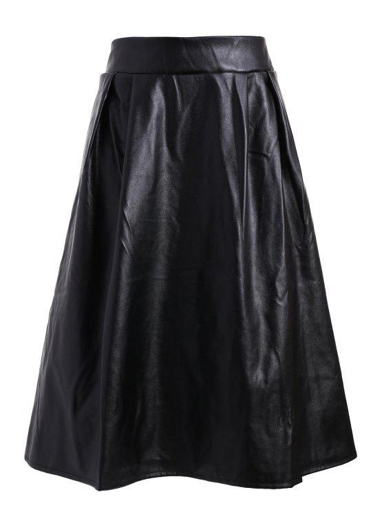 0ecc7a9ae 25% OFF] 2019 Plus Size Faux Leather Midi Skirt In BLACK   ZAFUL
