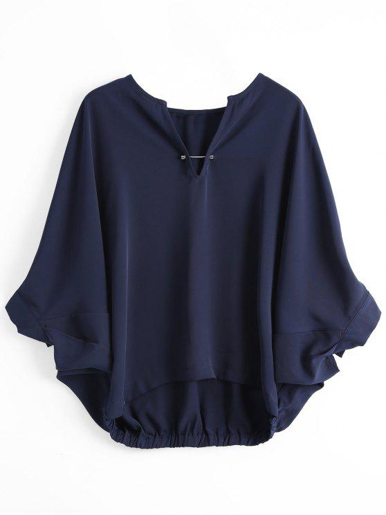 women's Loose Metal Rings Batwing Sleeve Blouse - PURPLISH BLUE S