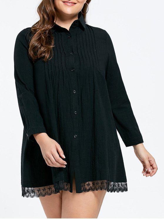 زائد حجم الدانتيل تريم مطوي قميص اللباس - أسود 4XL