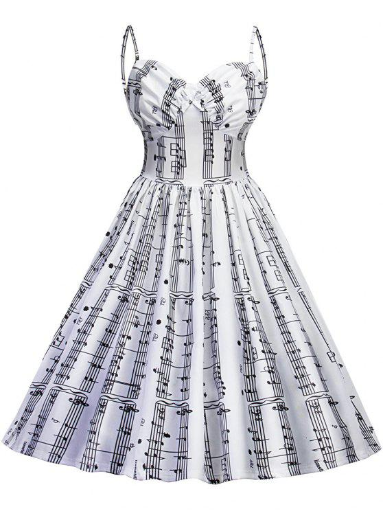 2018 Vintage Music Note Print Backless Pinup Dress In WHITE M | ZAFUL