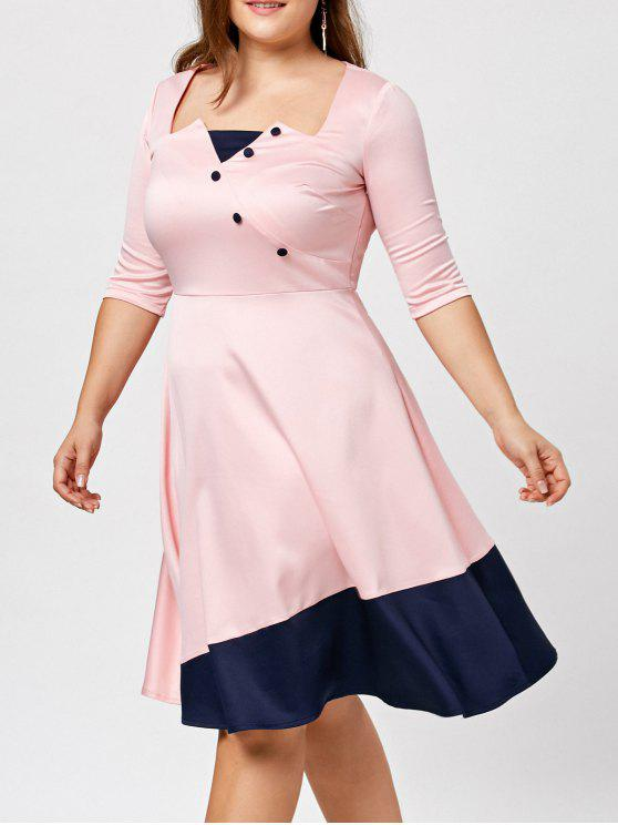 8035bf0c29ebf 2019 Color Block Buttoned Plus Size Dress In PINK 4XL