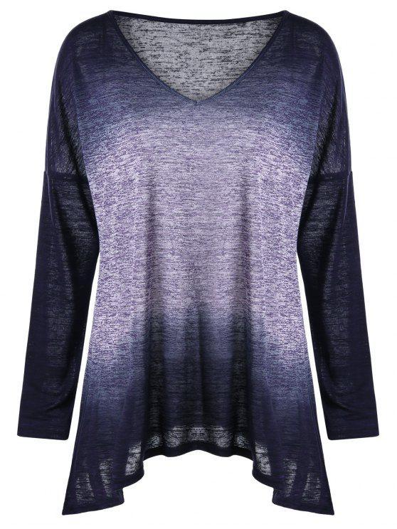 4248d9fc54cc3 fashion Plus Size Drop Shoulder Ombre Long Sleeve T-shirt - COLORMIX XL