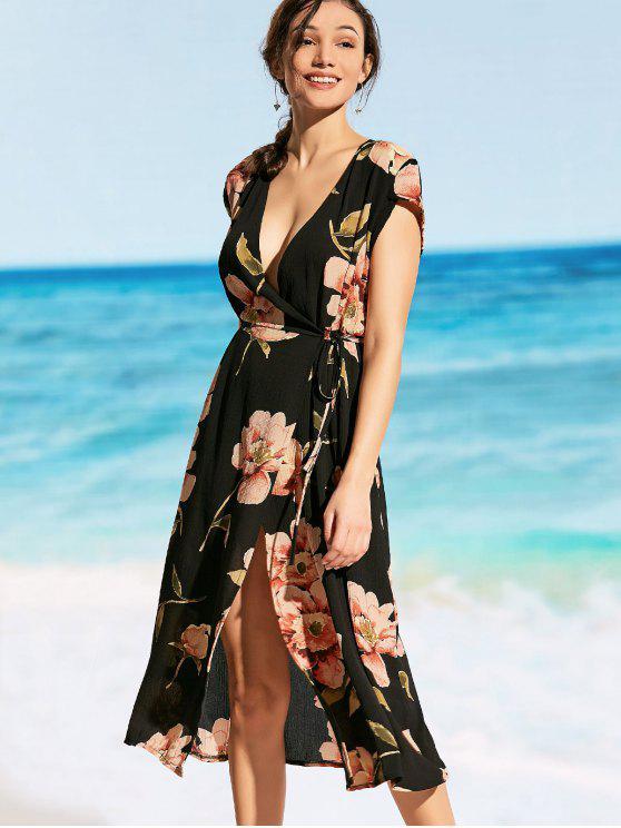 sale Plunging Neck Floral Wrap Beach Dress - BLACK L