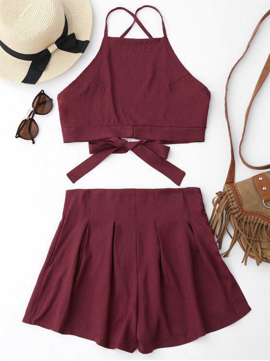 Cami Crop Top y Shorts Set - Rojo oscuro XL