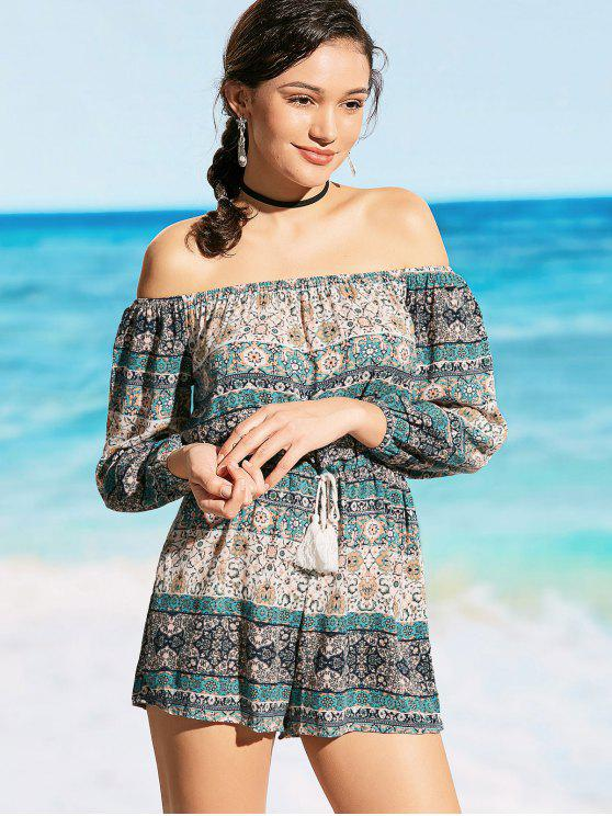 outfit Drawstring Off Shoulder Printed Beach Romper - COLORMIX L