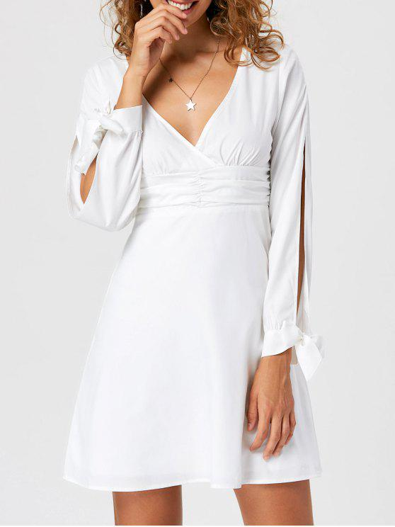 Tie Cuff Slit Sleeve Skater Dress - Branco L