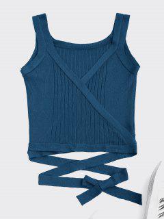 Wrap Knit Tank Top - Peacock Blue