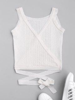 Wrap Knit Tank Top - White