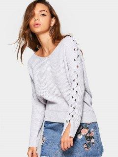 V Neck Lace Up Sleeve Sweater - Grey White