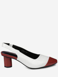 Slingback Mid Heel Color Block Pumps - Red 39