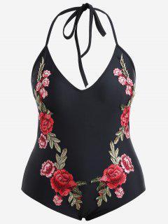 Flower Applique Plus Size Swimsuit - Black Xl