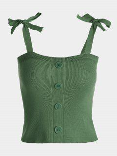 Button Embellished Tie Shoulder Knitted Top - Army Green
