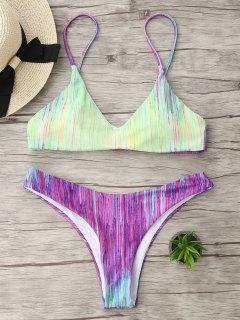 Tie Dye Spaghetti Strap Bikini Set - L