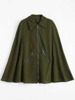 Zip Up Capelet Coat With Pockets - Army Green Xl