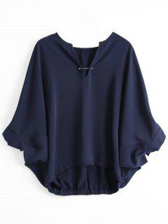 Loose Metal Rings Batwing Sleeve Blouse - Purplish Blue L