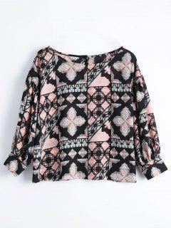 Printed Loose Button Up Blouse - Floral L