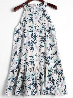 Rüschen Blumen Trapez Kleid - Weiß