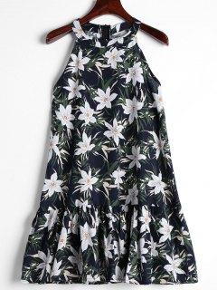 Ruffles Floral Trapeze Dress - Deep Blue