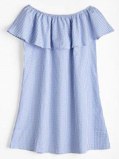 Ruffles Off Shoulder Plaid Dress - Blue And White L