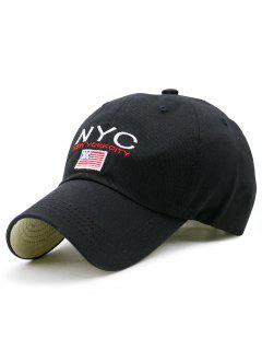 NYC And Flag Embroidery Baseball Hat - Black