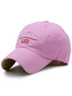 NYC And Flag Embroidery Baseball Hat - Pink