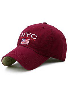 NYC And Flag Embroidery Baseball Hat - Wine Red