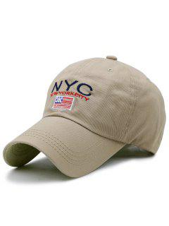 NYC And Flag Embroidery Baseball Hat - Khaki