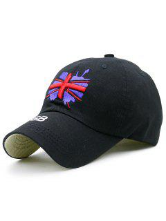 England Flag Embroidery Baseball Hat - Black