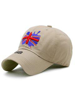 England Flag Embroidery Baseball Hat - Khaki