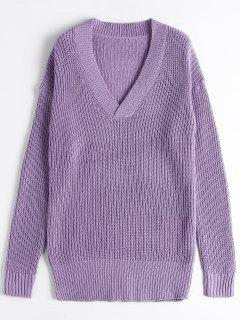 Drop Shoulder V Neck Chunky Sweater - Purple