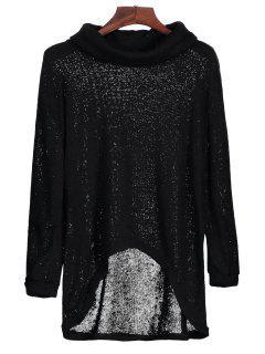 Turtleneck High Low Hem Sweater - Black S