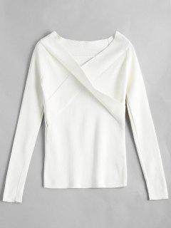 Crossed Front Off Shoulder Knitwear - White