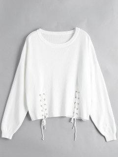 Loose Drop Shoulder Lace Up Sweater - White