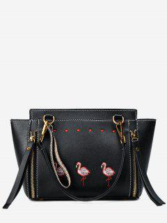 Zippers Faux Leather Embroidery Tote Bag - Black