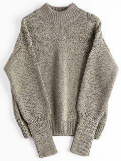 Loose Heathered Mock Neck Sweater - Greyish Brown