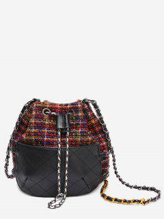Quilted Gien Check Chain Bucket Bag - Red