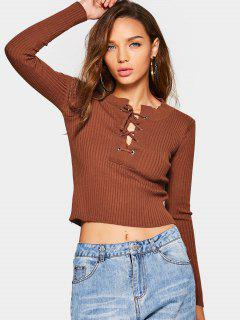 Lace Up Striped Sweater - Coffee