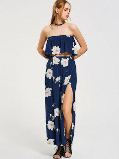 Flower Tube Top And Wide Leg High Slit Pants - Floral M