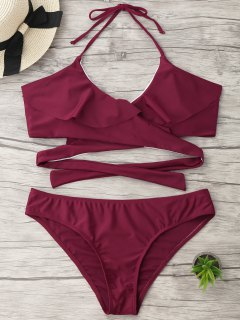 Halter Ruffle Padded Plus Size Wrap Bikini - Burgundy 3xl
