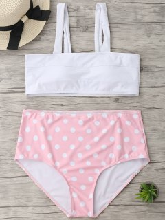 Polka Dot Plus Size High Waisted Bikini - White Xl