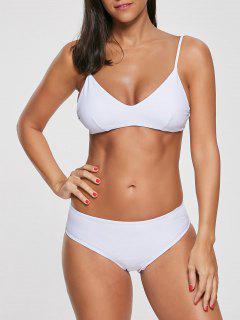 Spaghetti Strap Hoher Taille Bikini Set - Weiß S