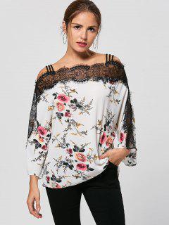 Eyelash Lace Trim Floral Bohemian Blouse - White M