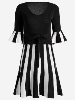 Flare Sleeve Striped Knitted Dress - Black