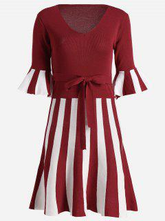 Flare Sleeve Striped Knitted Dress - Red