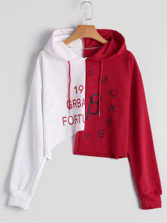 Graphic Two Tone Asymmetric Hoodie - Red With White L