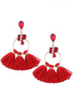 Artificial Crystal Teardrop Hoop Tassel Earrings - Red