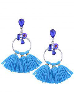 Artificial Crystal Teardrop Hoop Tassel Earrings - Blue