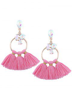 Artificial Crystal Teardrop Hoop Tassel Earrings - Pink
