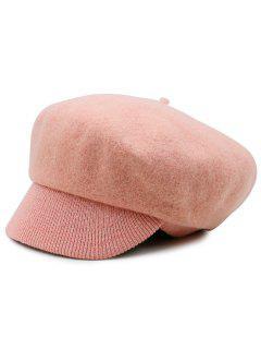 Wool Blend Knit Newsboy Hat - Light Pink