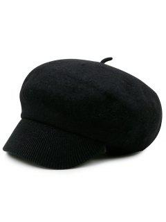 Wool Blend Knit Newsboy Hat - Black